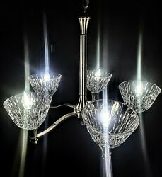 Stainless Steel Chandelier With 5 Large Waterford Crystal Shades - Brilliant