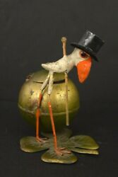 Figural Inkwell Dandy Stork Clover Antique Mixed Metals Pewter Iron Tin Germany