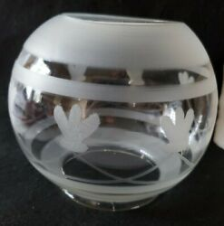 Antique Etched Cut Glass Gas Oil Lamp Shade 4 Fitter Floral Round Globe