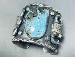 Double Cowhead Native American Turquoise Wide Sterling Silver Bracelet