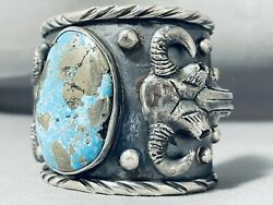 Cowhead Crazy 171 Gram Native American Turquoise Sterling Silver Bracelet