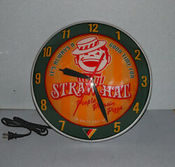 Straw Hat Pizza Double Bubble Light Up Clock Sign Nos With Box 15 Restaurant