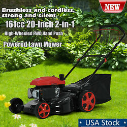 161cc 20-inch Gas Powered Lawn Mower 2-in-1 High-wheeled Fwd Self-propelled A+