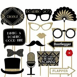 Fully Assembled Roaring 20s Photo Booth Props - Set Of 30 - Black And Gold Se…
