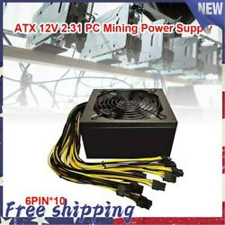 2000w Mining Power Supply Atx 12v Support 10x 6 Pin Graphics Cards Bitcoin Miner