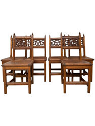 Charming And Decorative Antique French Gothic Chairs Set Of Six 1920and039s Oak 11