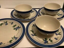 """Retired Ll Bean Blueberry Stoneware 4 Dinner Plates 11"""" And 3 Soup Bowls 6.25"""""""