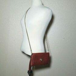 Coach Leather Crossbody Metallic Red Gold Chain Bag Detectable Wristlet $87.11