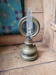 A Super Victorian Hanging Oil Lamp With Mirror Reflector