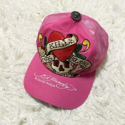 Ed Hardy X Hello Kitty Collaboration Embroidery Mesh Cap Pink Limited 0369mn