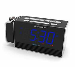 Emerson SmartSet Projection Alarm Clock Radio with USB Charging for