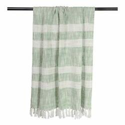 Rustic Farmhouse Cotton Stripe Blanket Throw With Fringe For Chair, Mint