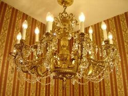 Large Brass 18 Light Spanish Crystal Chandelier Old Ceiling Lamp Fixtures