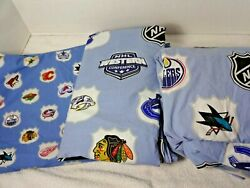 Pb Teen Twin Nhl Sheets Euc 2 Flat + 1 Fitted Western Conference Euc Wash Wear
