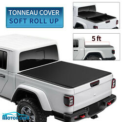 Soft Roll-up Tonneau Cover For 2020 2021 Jeep Gladiator Sport 5ft Truck Bed Top