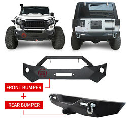 Since 1941 Front+rear Bumper W/hitch Receiver D-rings For Jeep Wrangler Jk 07-18