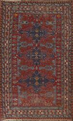 Antique Vegetable Dye Geometric Tribal Sumak Russian Area Rug Hand-woven 7and039x10and039