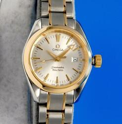 Ladies Omega Seamaster Aqua Terra 18k Gold And Ss Watch - Silver Dial - 2377.30
