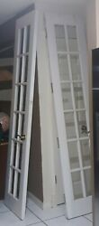 French Doors Old Antique Vintage 92 X 21 ,solid Wood With 12 Panes On Each