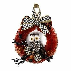Wreath, Fall And Halloween Decoration, Small, Indoor Bottle-brush Spotted Owl