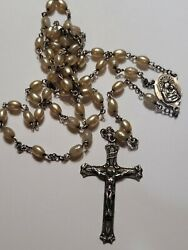 Vintage Catholic Large Rosary Sterling Silver Cross 25 .4 G