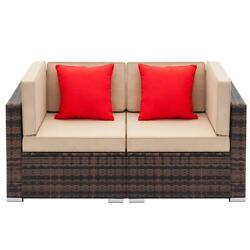 2pc Home Furniture Patio Set Rattan Wicker Corner Sofa Sectional Couch Cushioned