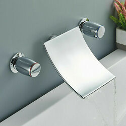 Waterfall Spout Bathroom Faucet Chrome Brass Vanity Sink Mixer Tap Wall Mounted