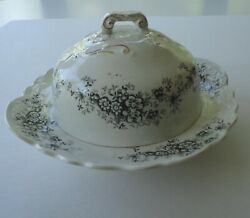 Antique Buffalo Pottery Seneca Pattern Lamare Round Covered Butter Dish Dome Lid