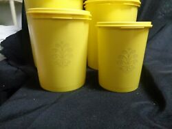 Vintage Tupperware Servalier Five Canister Set With Lids Sunshine Yellow