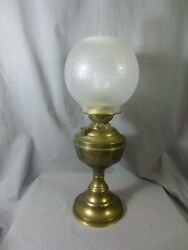 Old Vintage Brass Duplex Oil Lamp And Shade Shepards Hut Farmhouse
