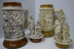 2 Antique Beer Stein Mugs German Style Holland 16 Inch Height Detailed