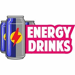 Energy Drinks 48 Concession Decal Sign Cart Trailer Stand Sticker Equipment