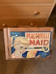 Vintage Produce Fruit Growers Wooden Wood Crate Placerville Maid Bartletts