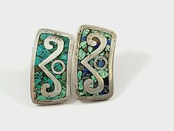 925 Silver/crushed Turquoise Sw Style Earrings