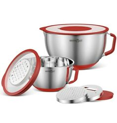 Mixing Bowl W/ Lids, Stainless Steel Bowls W/ Spout And 3 Grating Attachments