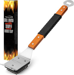 Bbq Grill Brush And Scraper Wooden Handle Traditional Bristles Safe Cleaning