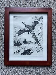 Vintage Signed Pheasant Drawing Sketch Wall Art Antique Farmhouse
