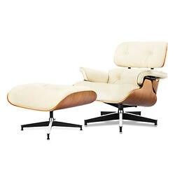 Classic Eams Lounge Chair And Ottoman Walnut Leather White