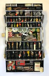 Vintage Umco 1000 A Tackle Box Full Of Freshwater Fishing Lures And Other Gear