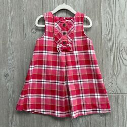 Janie And Jack Pink White Plaid Lined Jumper Dress Sz Girls 3t