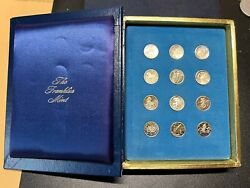 Franklin Mint Treasury Of Zodiac Medals 12-piece Silver Set - Complete In Box