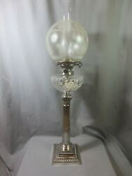Victorian Antique Hinks Silver Plated Corinthian Column Oil Lamp And Shade 1896