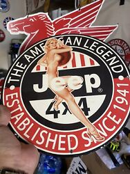 Vintage Jeep Porcelain 4x4 Off Road Truck American Auto 12andrdquo Gas Oil Sign Metal