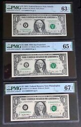 00005555 In Brand New Pmg Holders Double Quad Matching Serial Number Frn 3 Notes