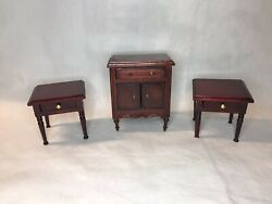 Vintage Wooden Dollhouse Furniture Lot 2 End Tables Night Stands Entry Table