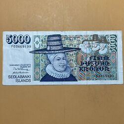 Iceland 5000 Kronur Current Circulated Paper Money - Dated 1961 - 2 Signatures