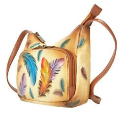 Anuschka Hand Painted Leather Organizer Crossbody Tan Floating Feather NWT $106.95