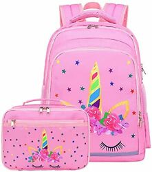 Backpack for Girls Kids School Backpack with Lunch Box Preschool Pink unicorn $55.68