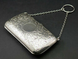 C1912 Mappin And Webb Fine Antique George V Engraved Solid Silver Purse On Chain