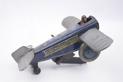 Gunthermann Tin Wind Up Toy 1930s Lithographed Rollover Plane Germany